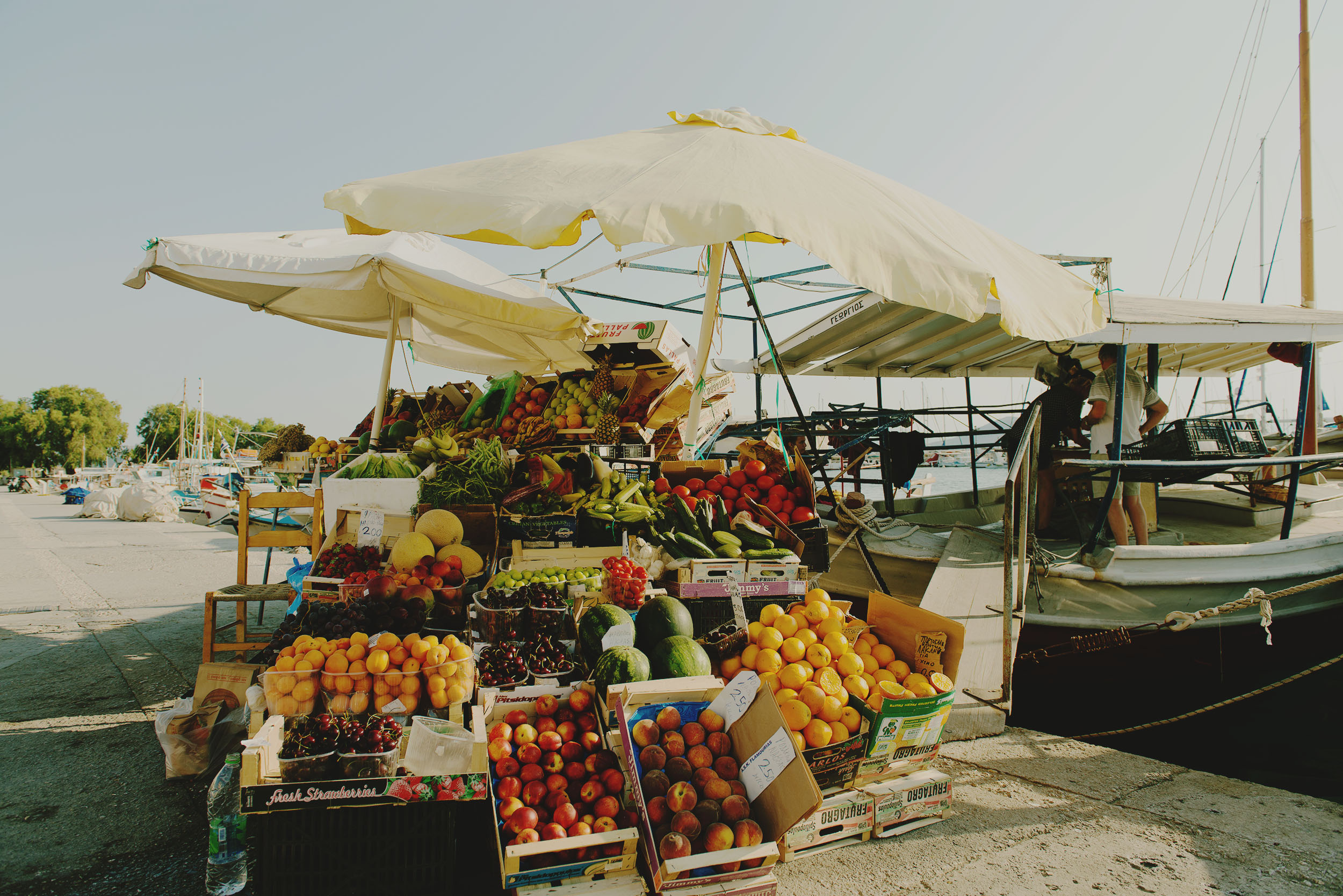 Fruit market in Aegina, Greece.