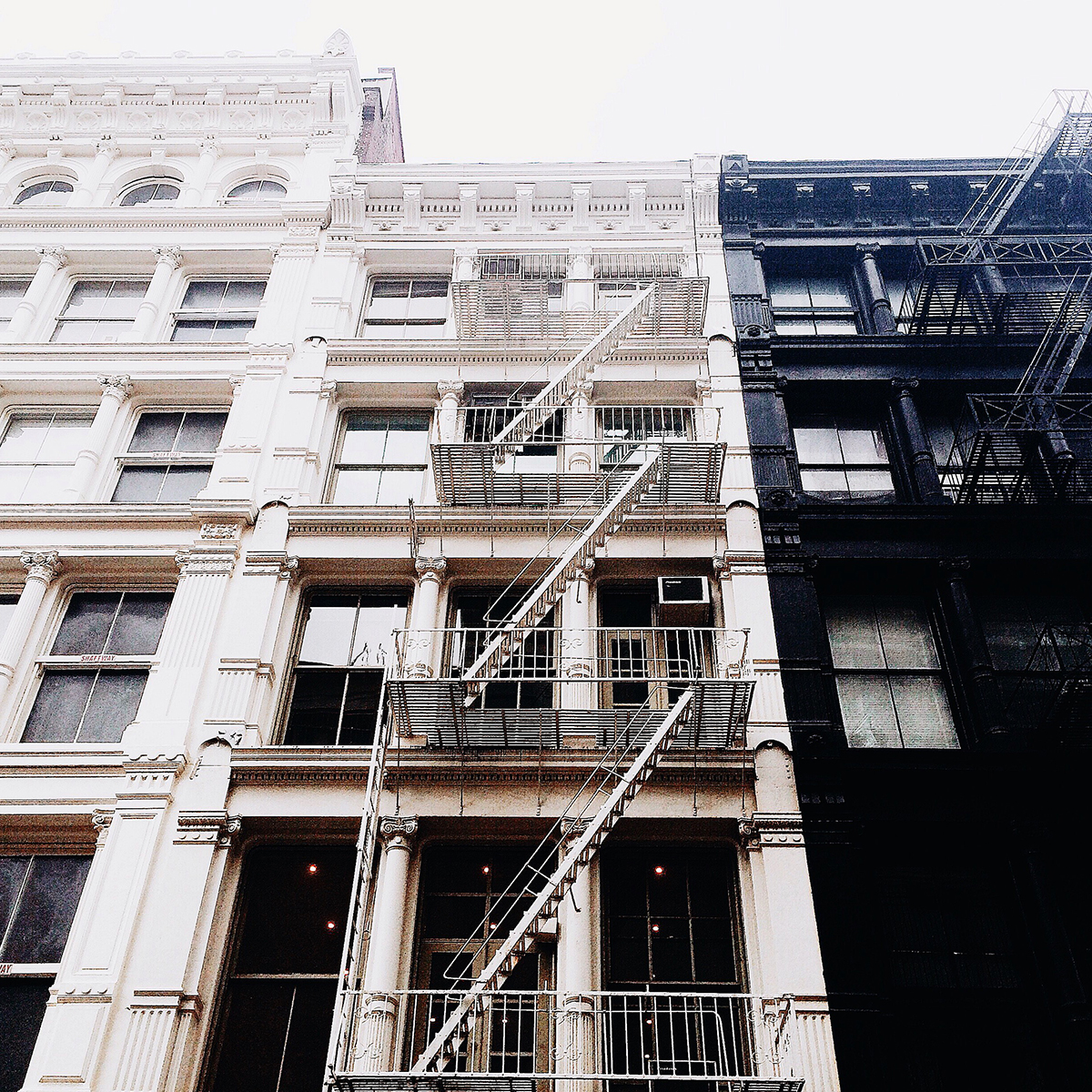 new york, soho, architecture, black, white, apartment building, manhattan, usa, united states of america
