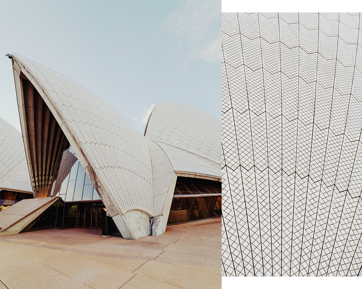 Sydney Opera house at Bennelong Point, New South Wales, a hot and sunny day.