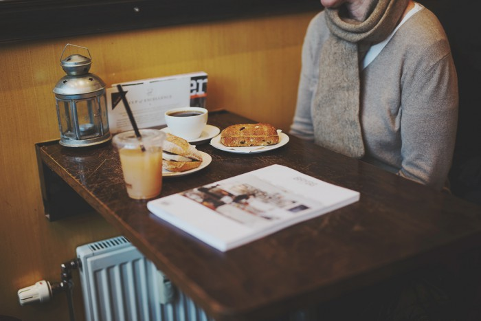 Breakfast at Kaffebrenneriet on Hegdehaugsveien in Oslo, Norway, January of 2016.