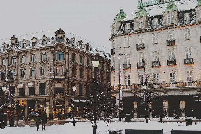 Grand Hotel on Karl Johans Gate in Oslo, Norway, a cold winter's day in January 2016.