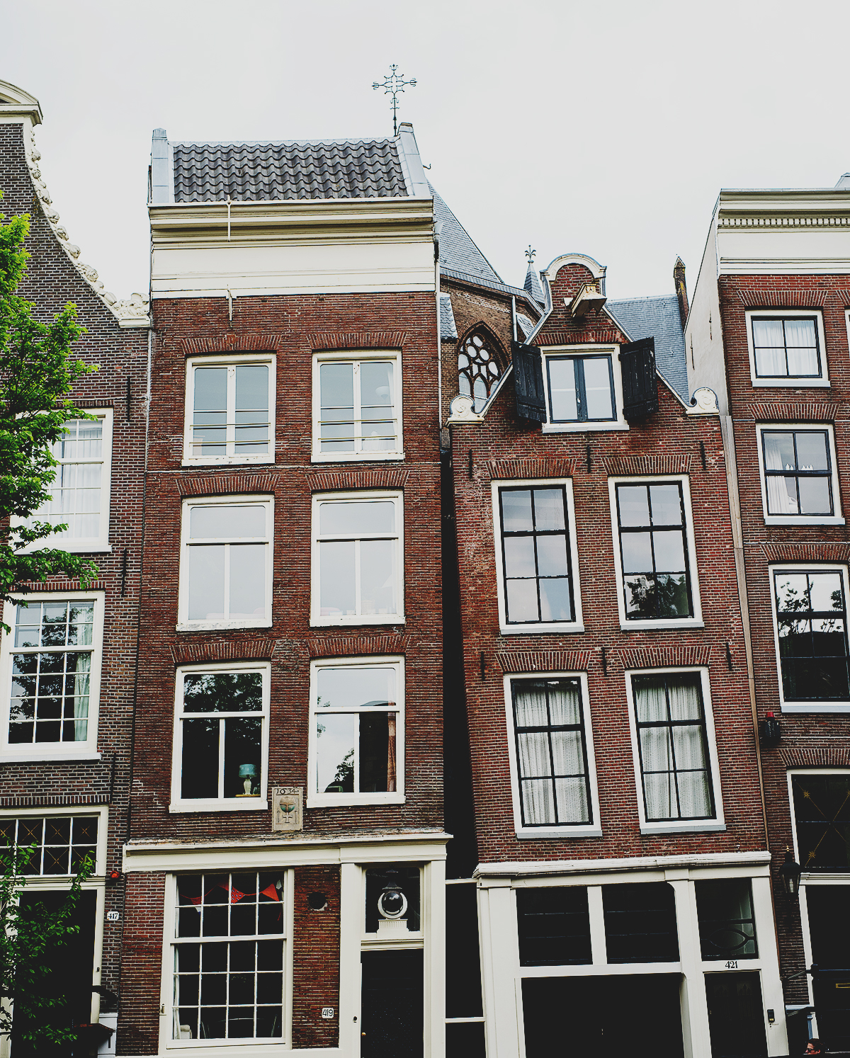 Buildings near the canals in Amsterdam, Netherlands.