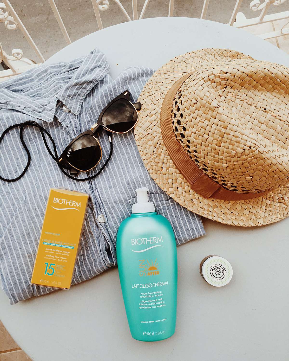 sun lotion and aftersun from biotherm and stuff by fred