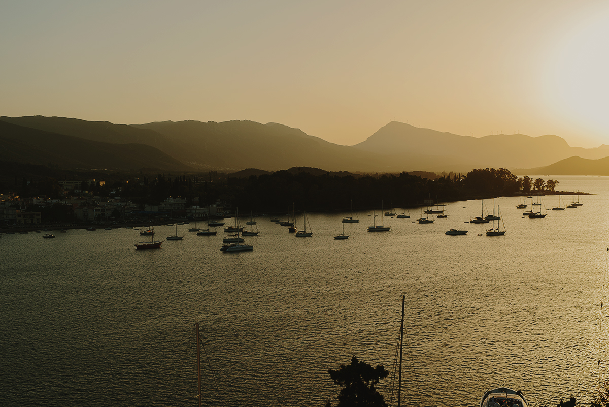 sun setting in the horizon. seen from poros, a greek island