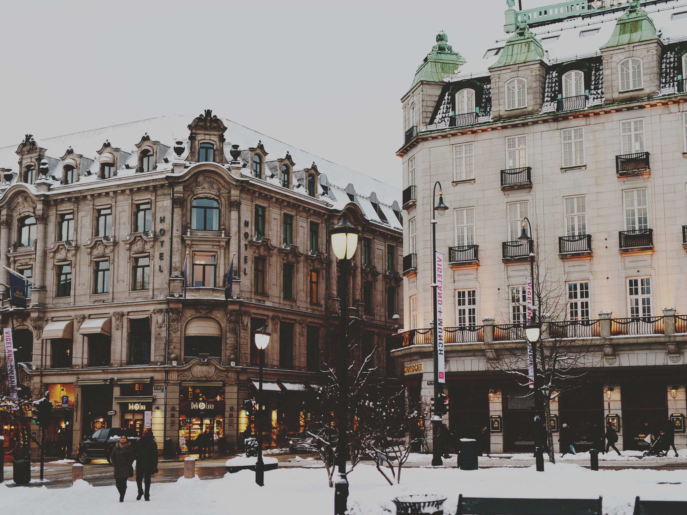 Karl Johans gate a cold winter's day in Oslo, Norway.